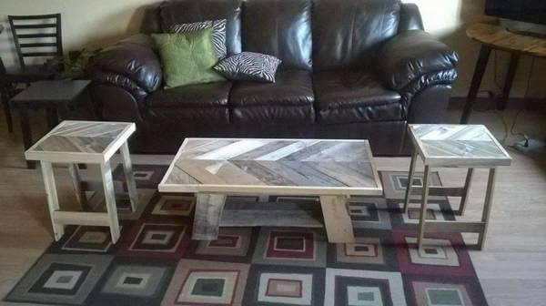 reused palet chevron coffee table