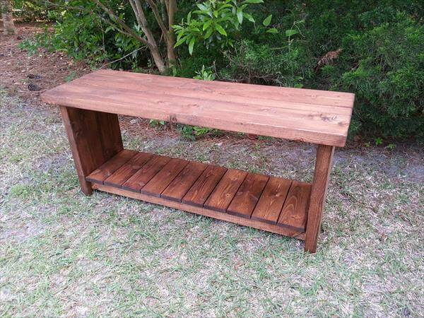 reused pallet bench with shoes rack shelf