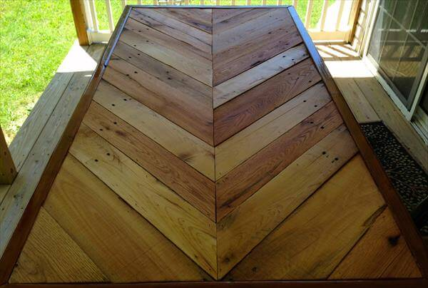 upcycled pallet chevron dining table