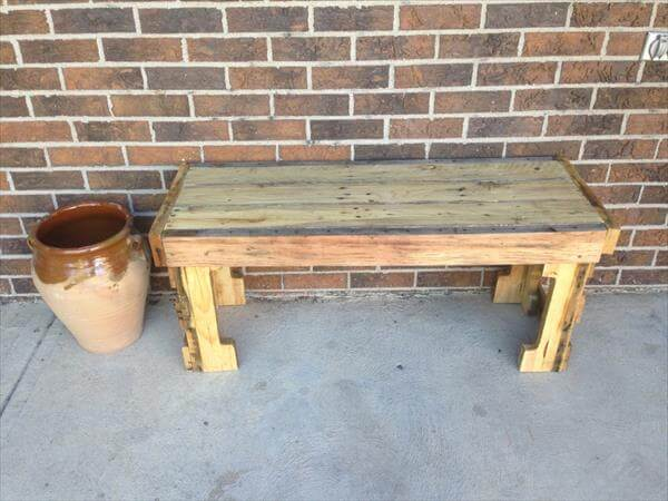 handcrafted pallet outdoor bench