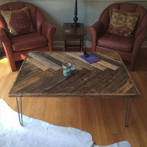 Pallet Chevron Table With Steel Hairpin Legs Pallet Furniture Diy