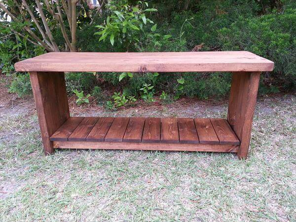 rustic pallet bench with shoes storage shelf
