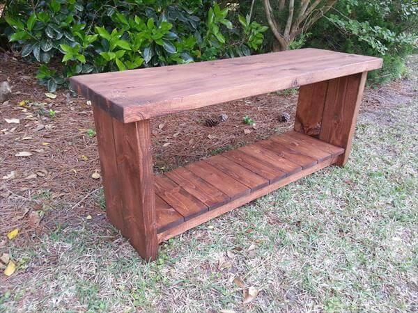 pallet foyer bench with storage shelf