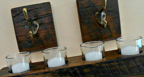 recycled pallet candle holder and hooks set