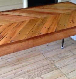 recycled pallet chevron dining table