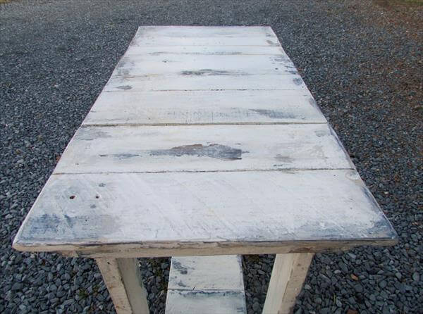 white distressed pallet console table