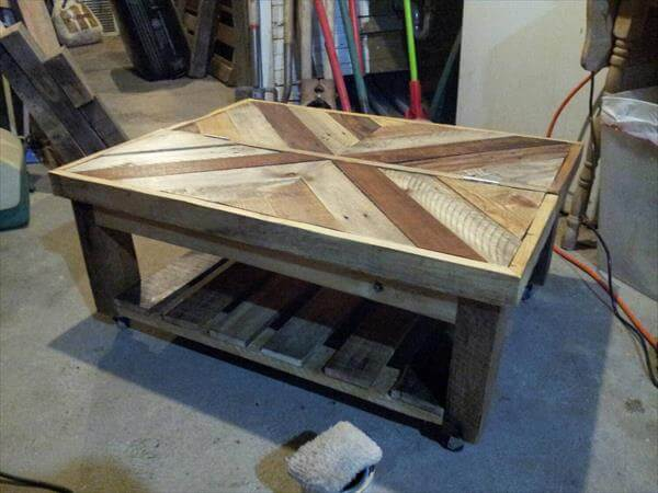 Diy pallet coffee table with book storage area pallet for Coffee table made out of pallet wood
