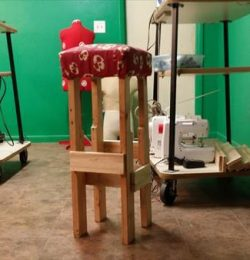 recycled pallet padded stool
