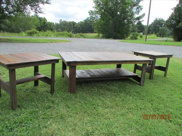 Pallet Coffee Table  End Tables  Patio Set Pallet Furniture DIY - Coffee table end table set