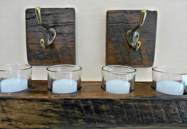 diy pallet candle 2 hooks and wall candle holder