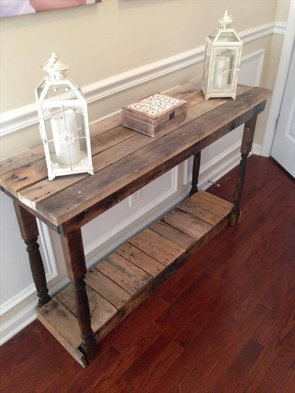 diy pallet accent foyer table