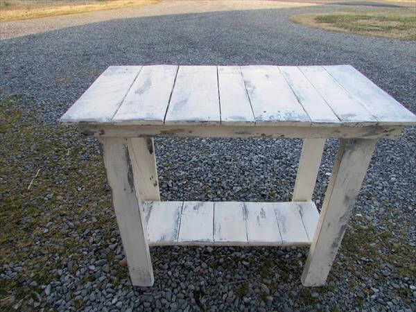 Diy Distressed White Sofa Side Table Pallet Furniture