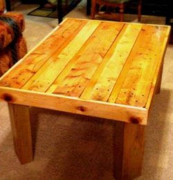 salvaged pallet cedar wood coffee table
