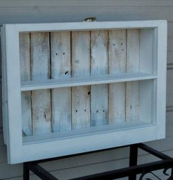 reclaimed window and pallet shelf