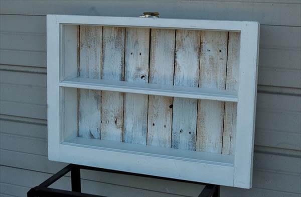 DIY Reclaimed Window and Pallet Wood Shelf  Pallet Furniture DIY