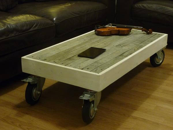 reused pallet coffee table with casters