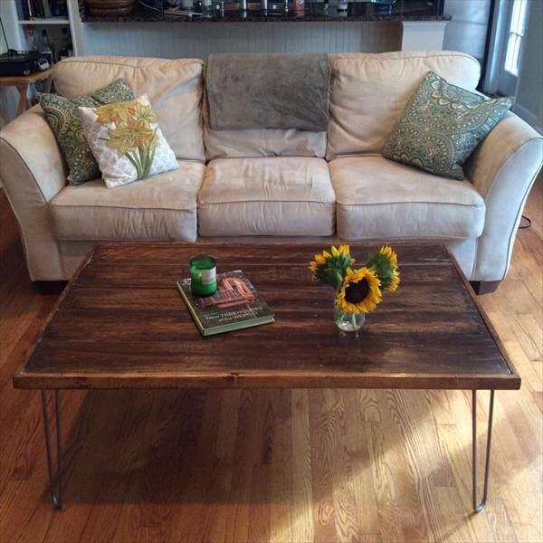 reclaimed pallet coffee table with hairpin legs