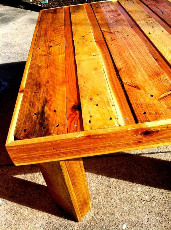 rustic trimmed topped pallet coffee table
