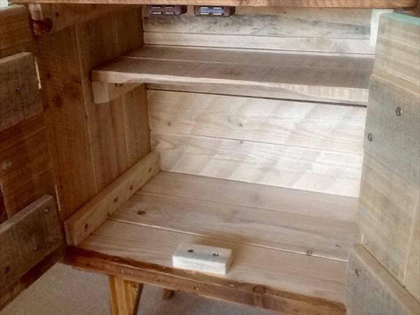 upcycled pallet nightstand and drink cabinet
