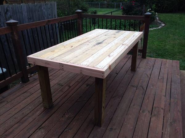 handmade pallet wood patio table