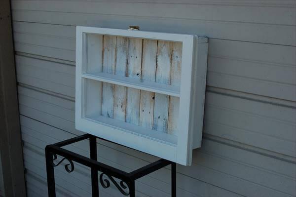 repurposed pallet and window shelf