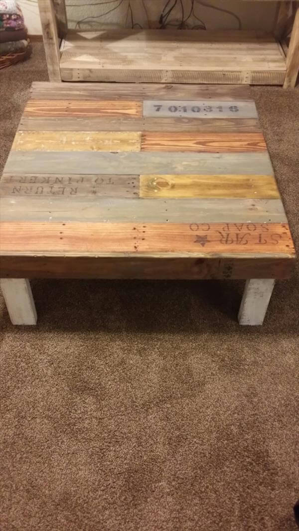 recycled pallet coffee table with short legs