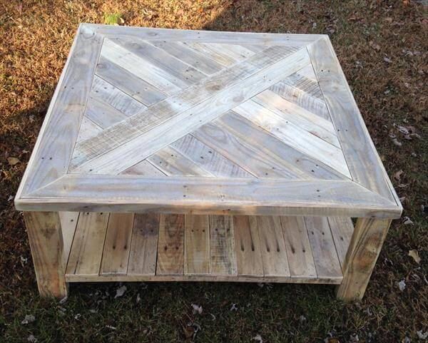 upcycled pallet distressed white coffee table