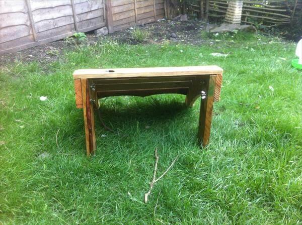 repurposed pallet adirondack footstool