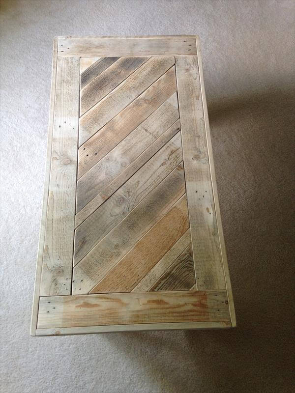 salvaged pallet coffee table with diagonal top