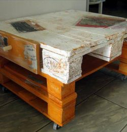 handmade pallet white and orange coffee table