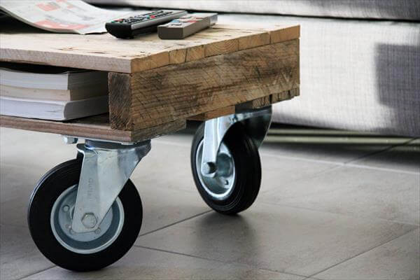 handmade pallet coffee table with wheels and storage