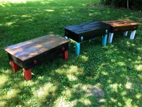 diy pallet garden benches and coffee tables with drawers