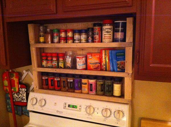 Wood pallet spice rack pallet furniture diy for How to make a spice rack out of pallets