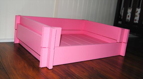 pink painted pallet pet bed