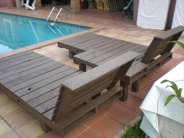 repurposed pallet poolside loungers