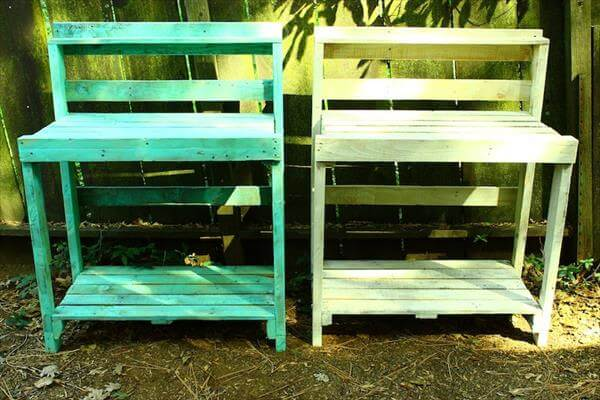upcycled pallet potting benches