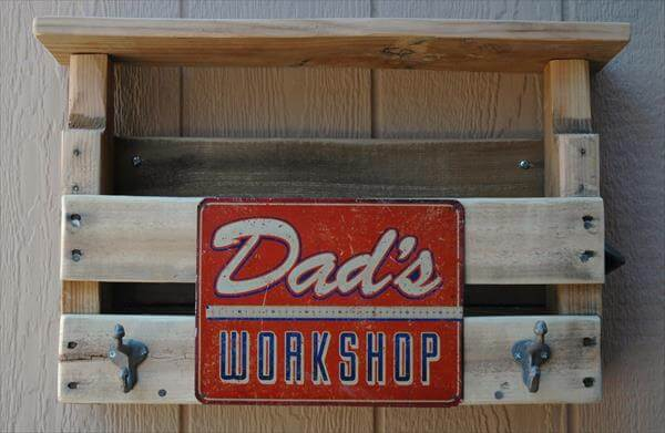 wooden pallet tool organizer and coat rack