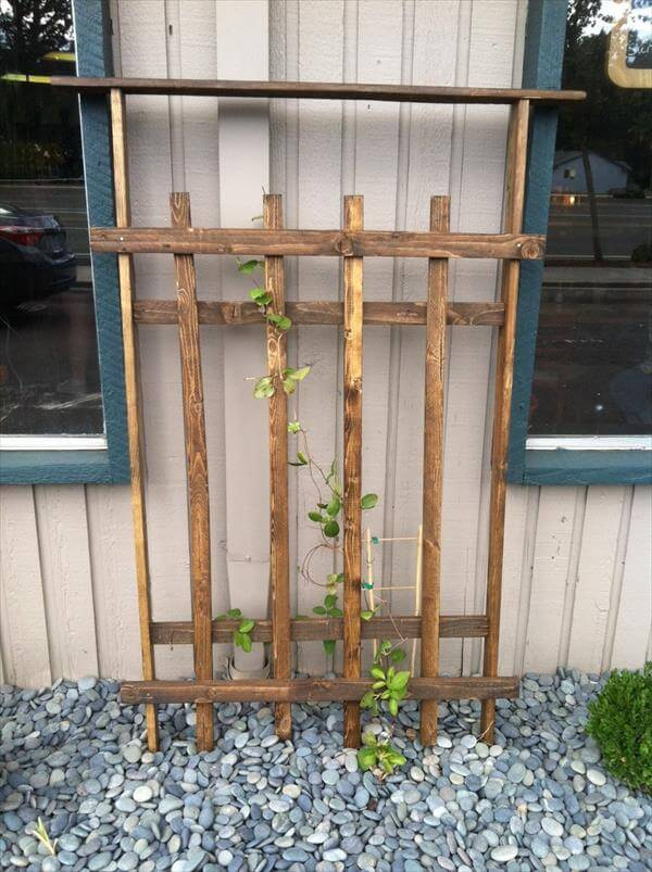 recycled pallet garden trellis