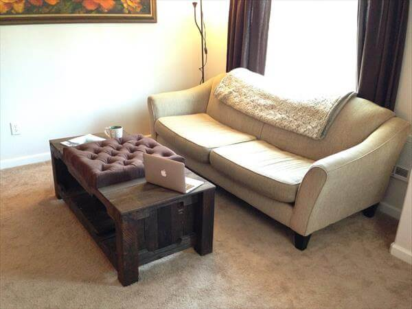 upcycled pallet tufted coffee table