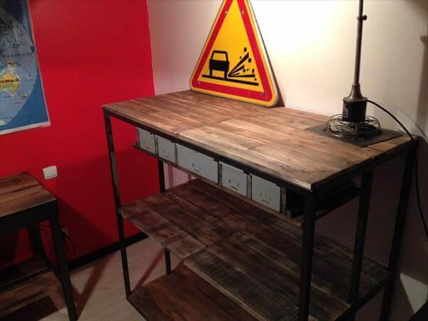 repurposed pallet and metal cabinet shelves