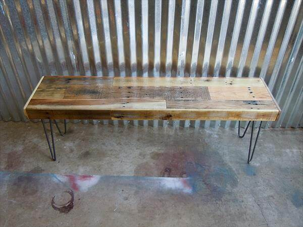 reused pallet bench with hairpin legs