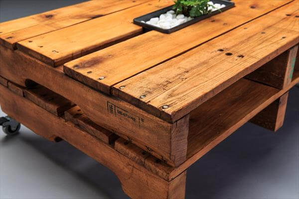 upcycled pallet coffee table with casters