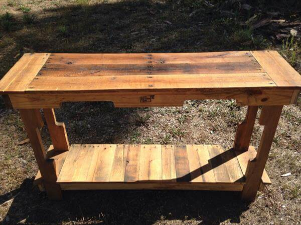 reclaimed pallet entry table and foyer table