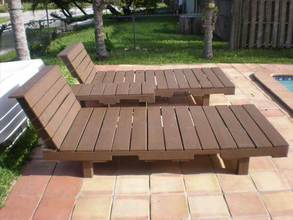 DIY Pallet Poolside Loungers With Table Pallet Furniture DIY