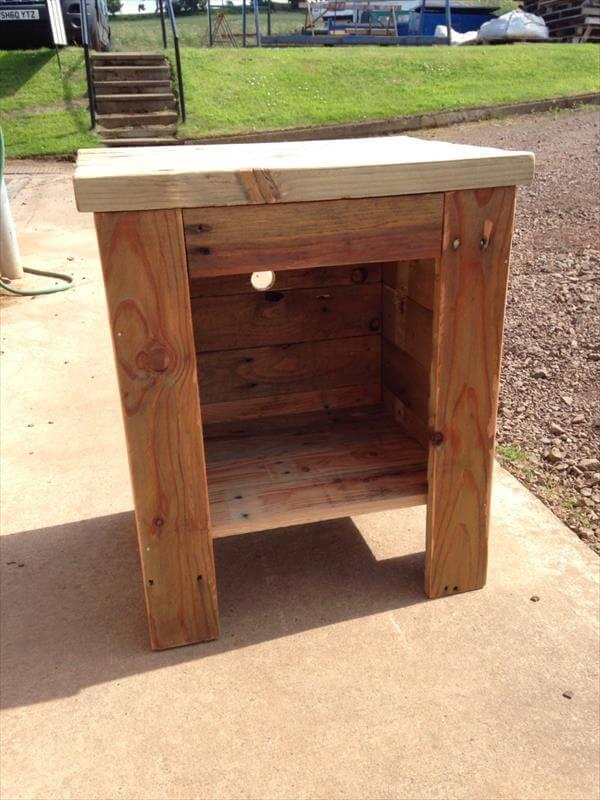 diy pallet side tables with inner storage shelves pallet. Black Bedroom Furniture Sets. Home Design Ideas