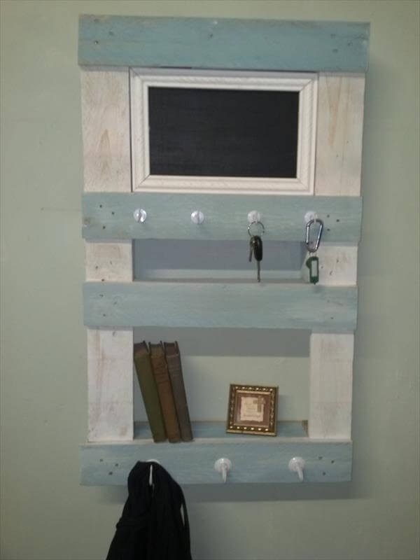 repurposed pallet wall shelf and organizer