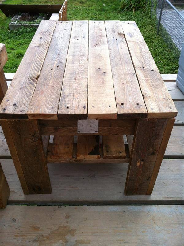 handmade pallet wood coffee table