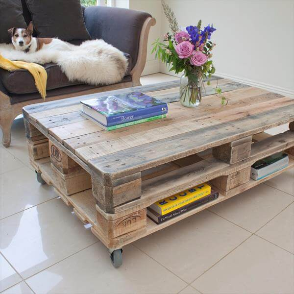 Build Coffee Table From Pallets: DIY Industrial Pallet Coffee Table With Wheels