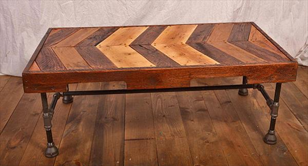 recycled pallet iron pipe coffee table