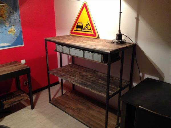 reclaimed pallet and metal shelving cabinet